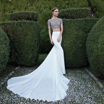 Two piece wedding dresses make their mark morgan davies for Cheap 2 piece wedding dresses