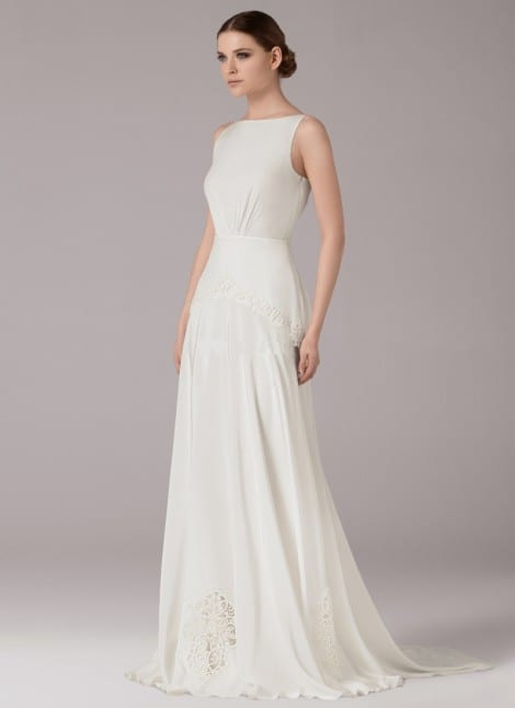Esther by Anna Kara. The fluid crepe-de-chine makes this A-line dress so elegant.