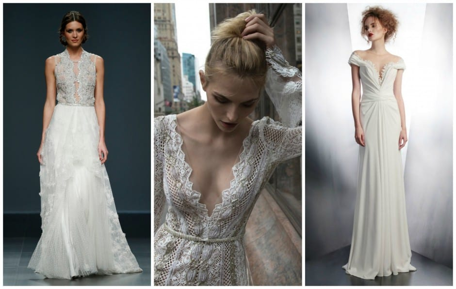 2016 Bridal Trend - Deep V and Keyhole Necklines.