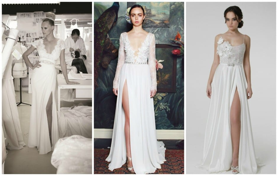 Thigh-High Slits on trend for Bridal Fashion in 2016.