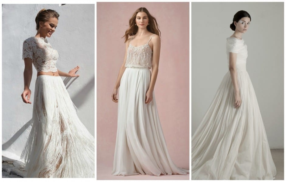 Two-piece wedding dresses are a hot bridal trend for 2016. Tarik Ediz White, Cortana and many more are now available at Morgan Davies Bridal.