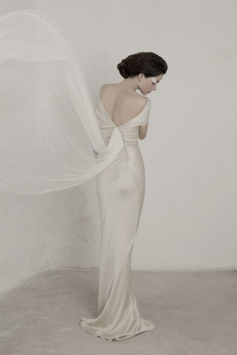 Spanish bridal designer, Cortana, available at Morgan Davies London.