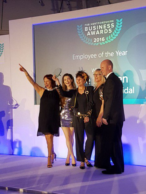 Hitchin store Manager Jane wins Employee of the Year 2016 at the FSB Hertfordshire Awards