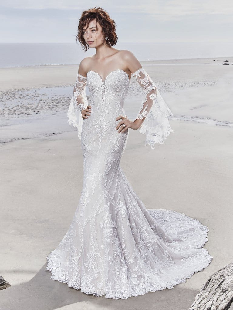 sottero and midgley lace fishtail with detachable sleeves